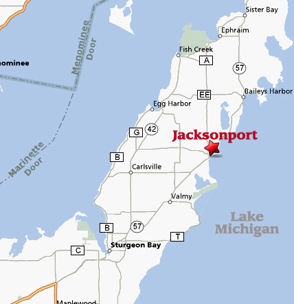 Jacksonport Wisconsin Map * Lake Michigan * Door County